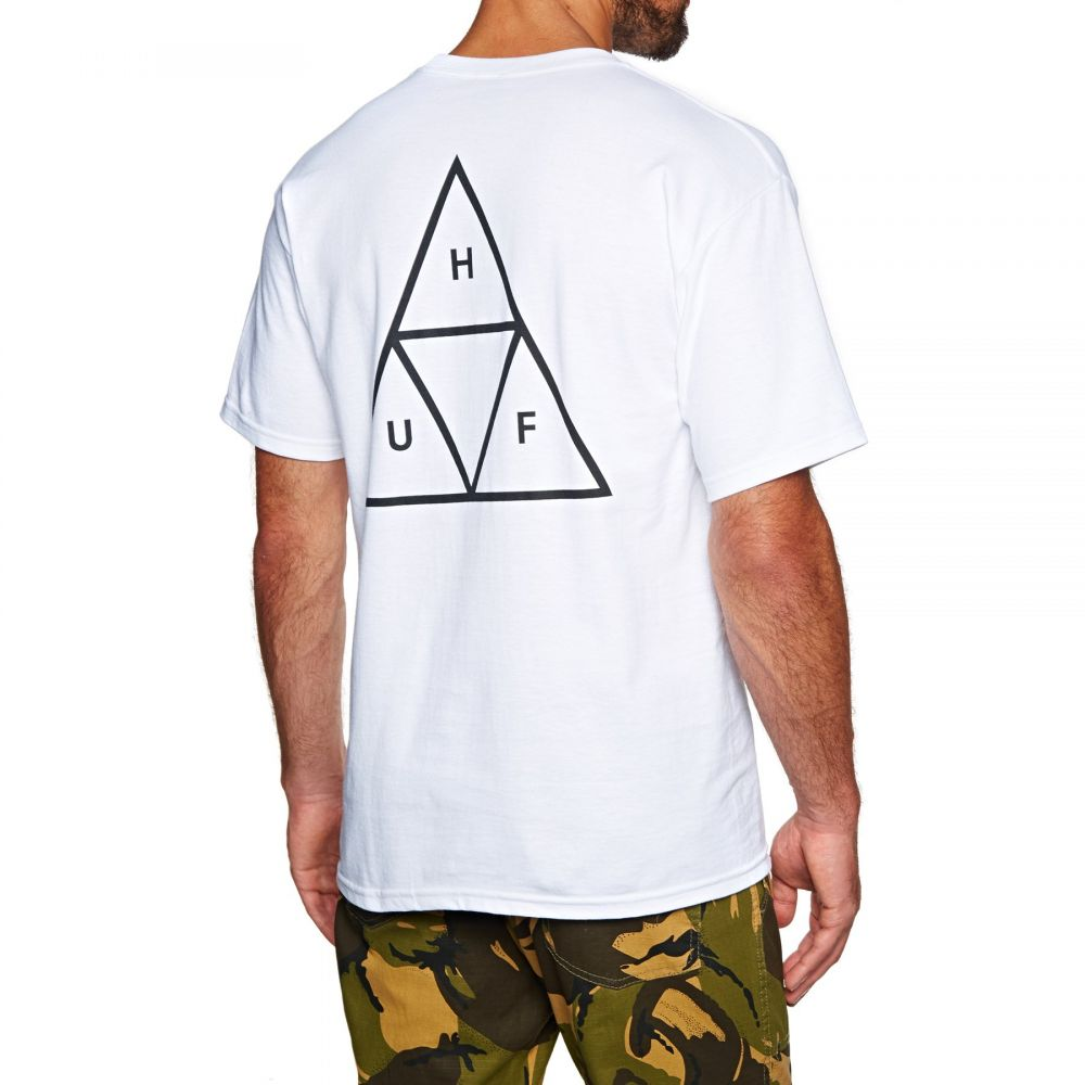 ハフ Huf メンズ Tシャツ トップス【essentials triple triangle short sleeve t-shirt】White