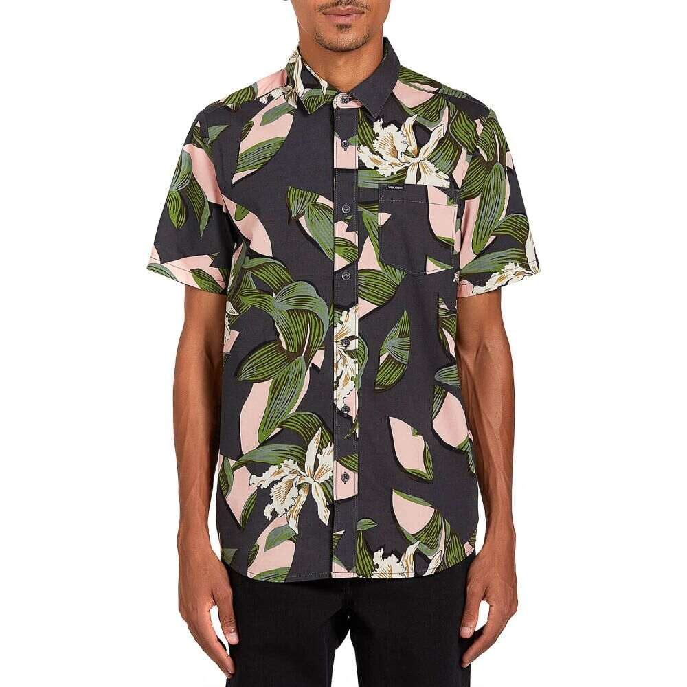 ボルコム Volcom メンズ 半袖シャツ トップス【cut out floral short sleeve shirt】Dark Charcoal