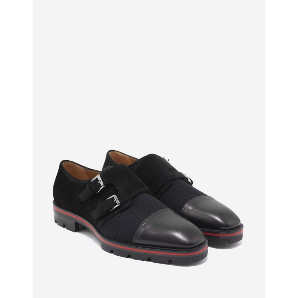 クリスチャン ルブタン Christian Louboutin メンズ シューズ・靴 革靴・ビジネスシューズ【Mortimer X Sole Flat Monk Strap Shoes】Black
