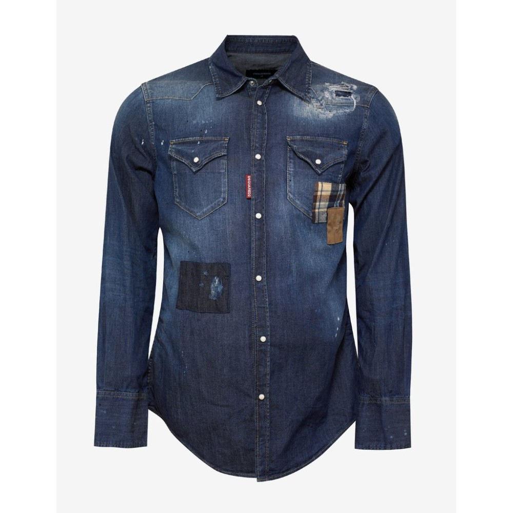 ディースクエアード Dsquared2 メンズ トップス シャツ【Distressed Denim Shirt with Patches】Blue