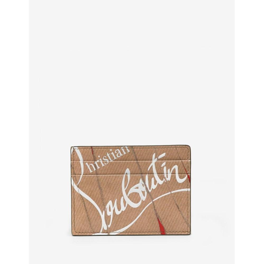 クリスチャン ルブタン Christian Louboutin メンズ カードケース・名刺入れ【Kios Kraft Loubi Leather Card Holder】Brown