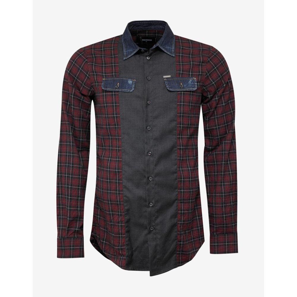 ディースクエアード Dsquared2 メンズ トップス シャツ【Check Shirt with Denim Trim】Red