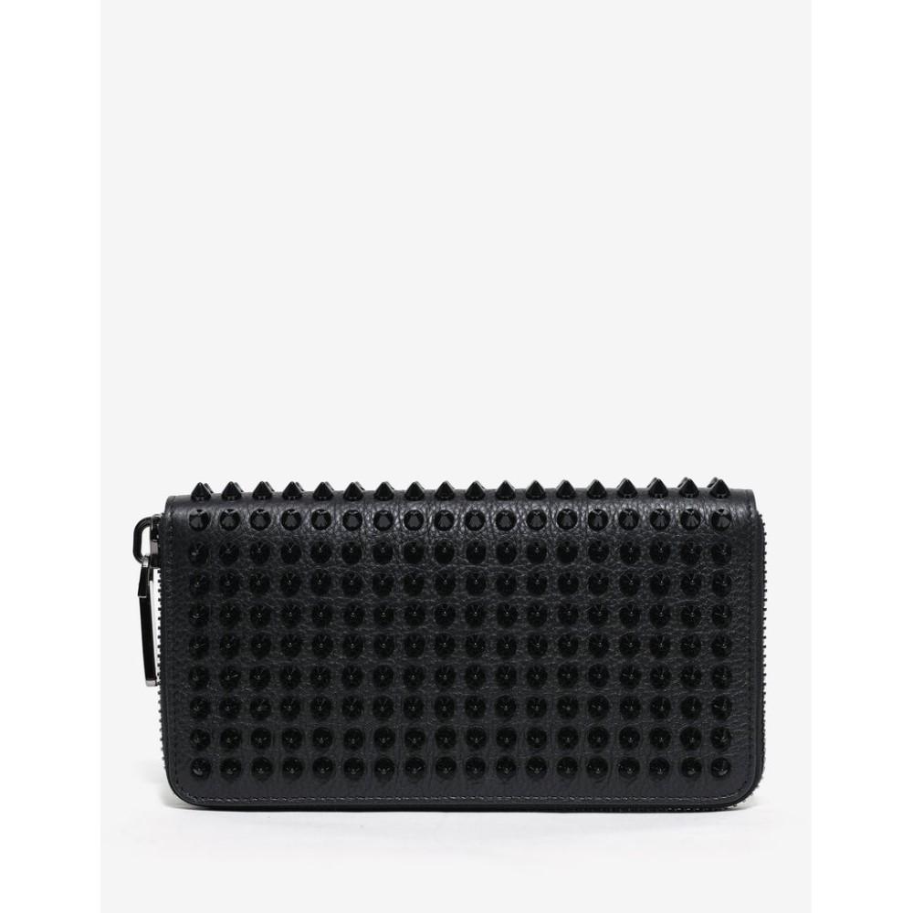 クリスチャン ルブタン Christian Louboutin メンズ 財布【Panettone Grain Leather Spikes Wallet】Black