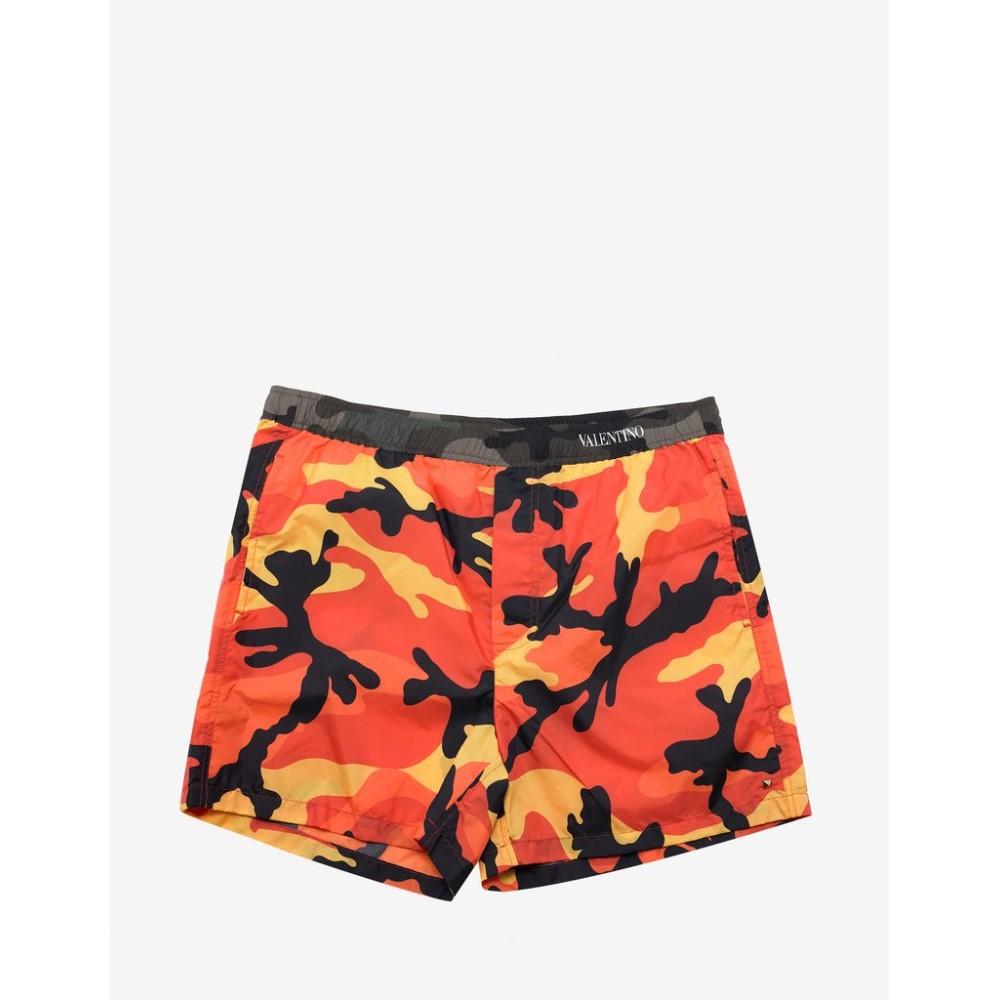 ヴァレンティノ Valentino メンズ 水着・ビーチウェア 海パン【Camouflage Print Swim Shorts】Orange