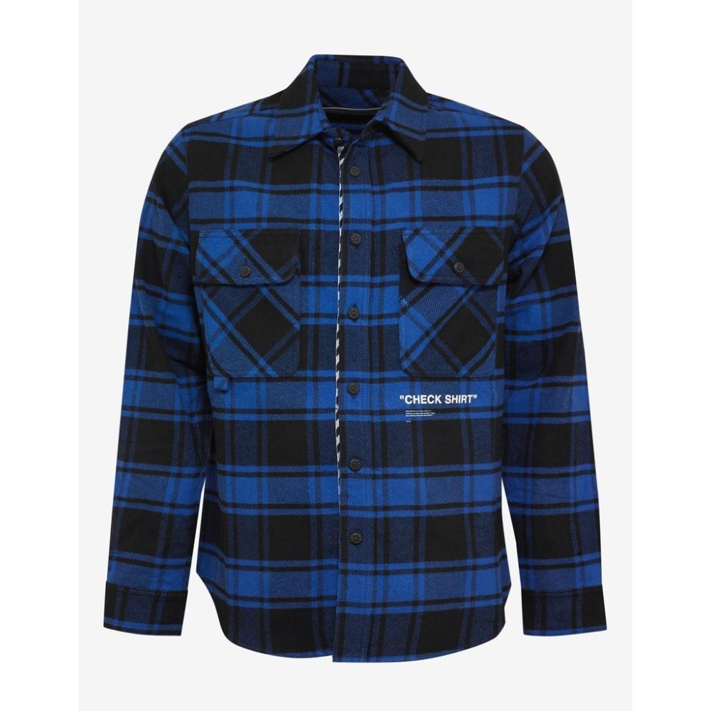 オフ-ホワイト Off-White メンズ トップス シャツ【Quote Print Flannel Shirt】Blue