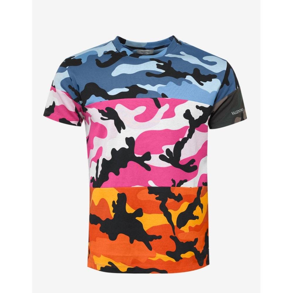 ヴァレンティノ Valentino メンズ トップス Tシャツ【Camoushuffle Print T-Shirt】Blue/Pink/Orange