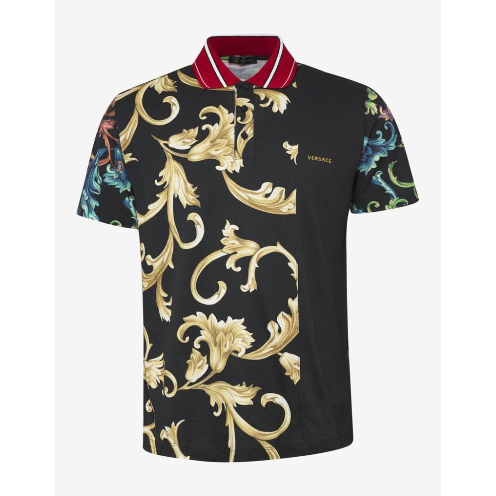 00ba45b6 ヴェルサーチ Versace メンズ トップス ポロシャツ【Acid Baroque Print Polo T-Shirt】Black