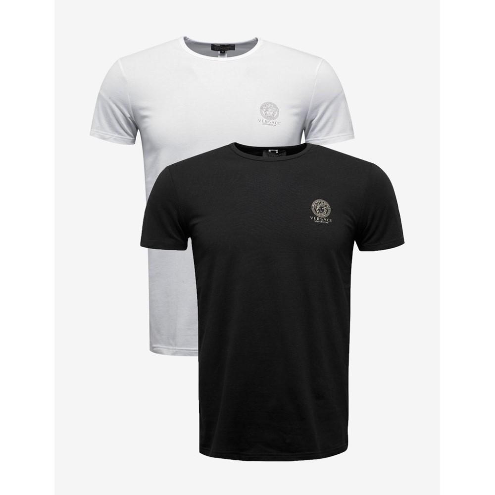 ヴェルサーチ Versace Gym メンズ トップス Tシャツ【Bi-Pack Black & White Medusa Print T-Shirts】Black/White