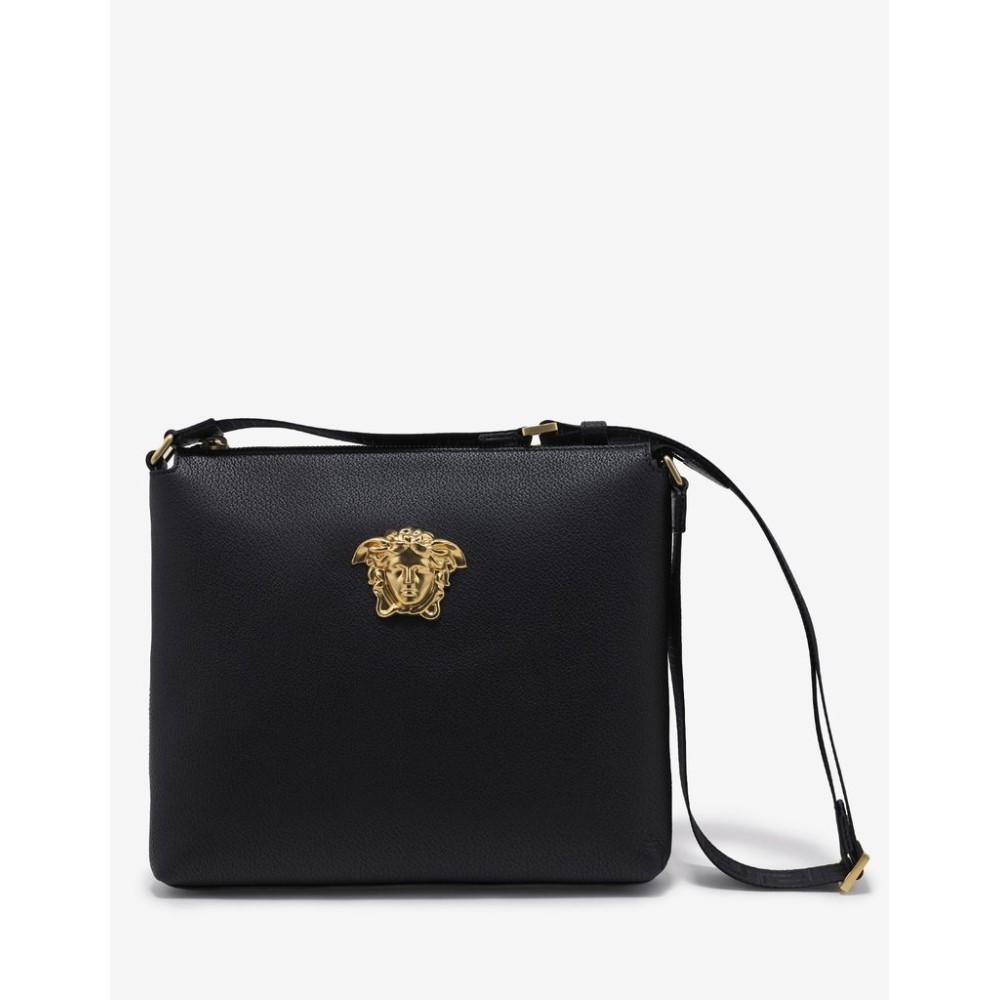 ヴェルサーチ Versace メンズ バッグ メッセンジャーバッグ【Grain Leather Medusa Messenger Bag】Black