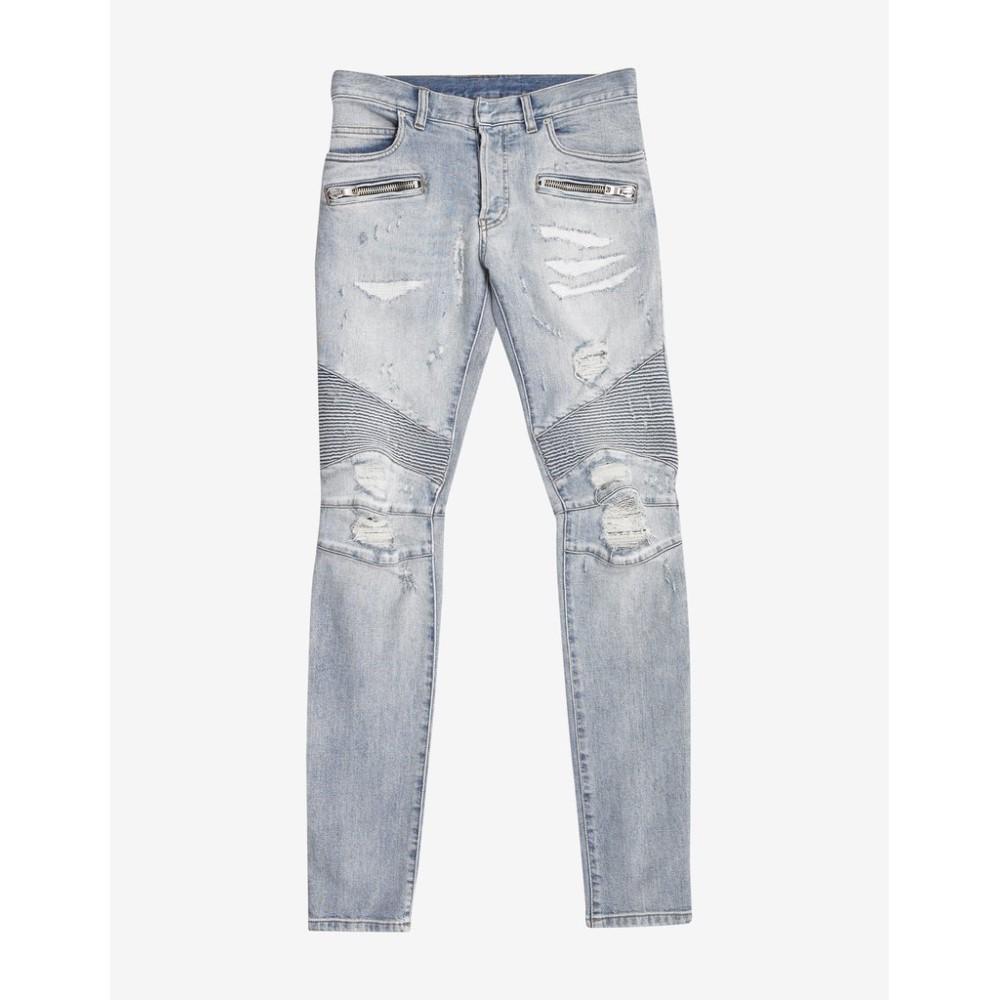 バルマン Balmain メンズ ボトムス・パンツ ジーンズ・デニム【Light Repaired Biker Jeans】Blue