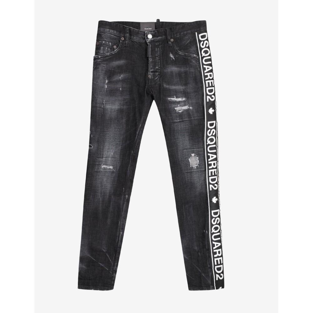 ディースクエアード Dsquared2 メンズ ボトムス・パンツ ジーンズ・デニム【Distressed Logo Trim Skater Jeans】Black