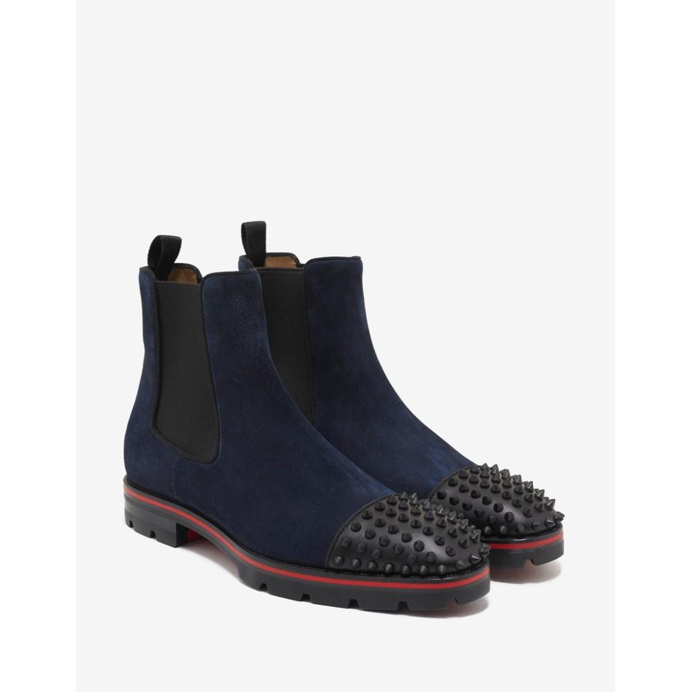 クリスチャン ルブタン Christian Louboutin メンズ シューズ・靴 ブーツ【Melon Spikes Flat Suede Chelsea Boots】Blue