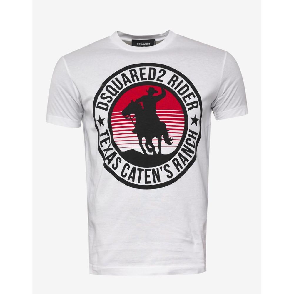ディースクエアード Dsquared2 メンズ トップス Tシャツ【Rider Print T-Shirt】White