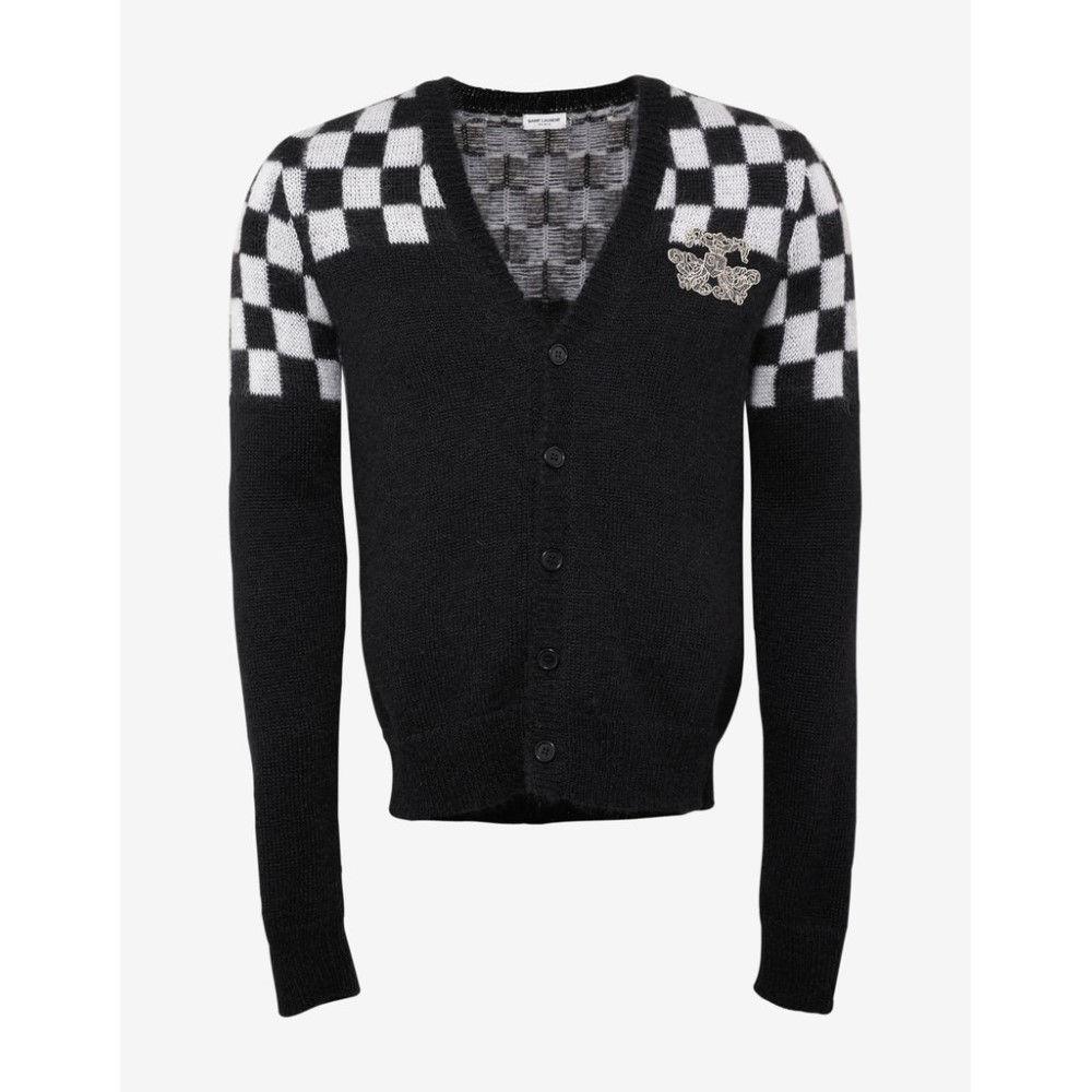 イヴ サンローラン Saint Laurent メンズ トップス カーディガン【& White Check Mohair Blend Cardigan】Black