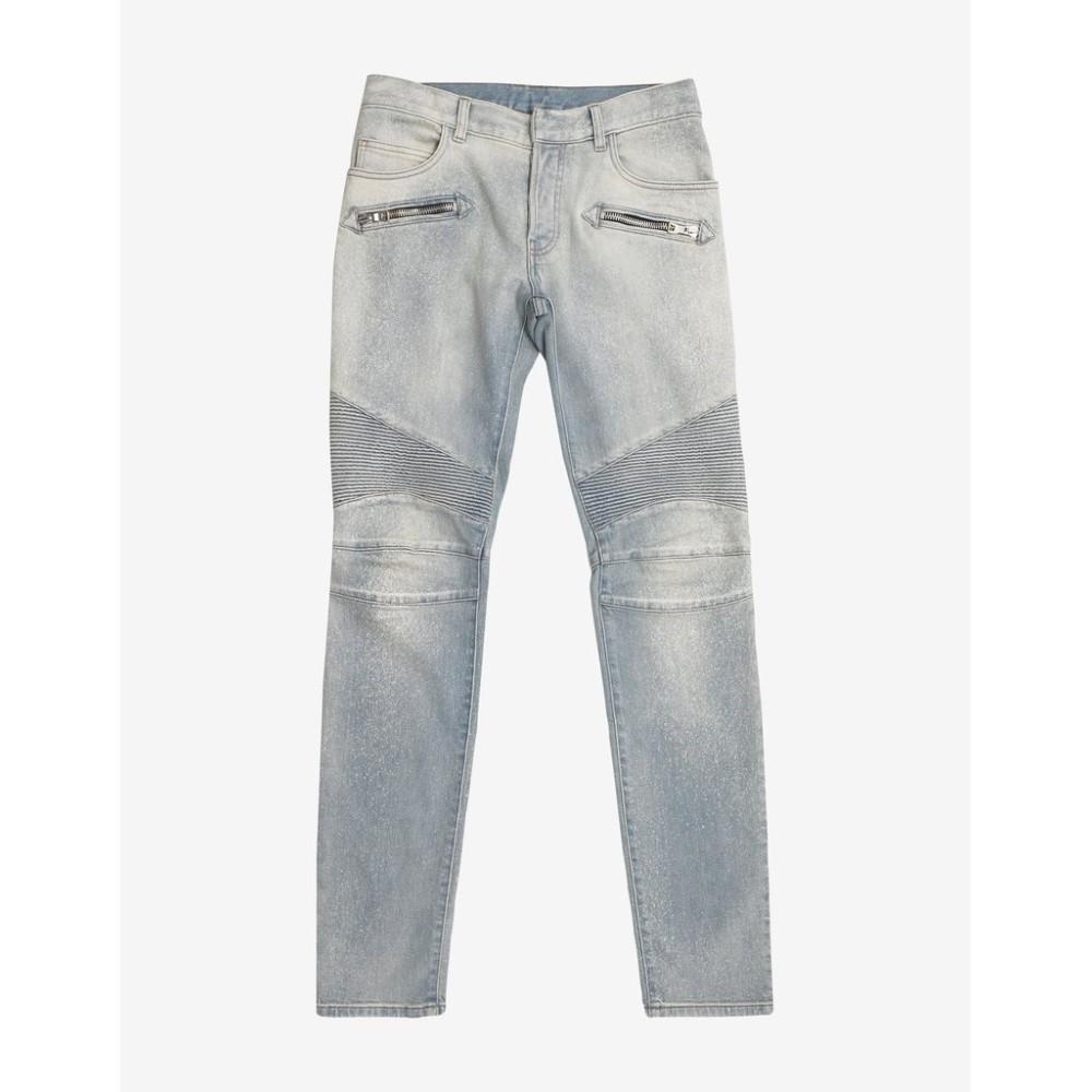 バルマン Balmain メンズ ボトムス・パンツ ジーンズ・デニム【Light Faded Biker Jeans】Blue