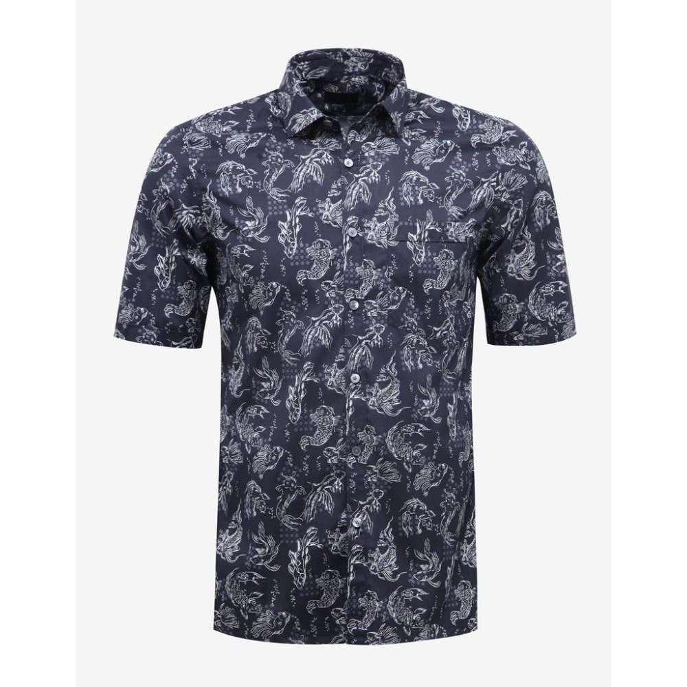 ランバン Lanvin メンズ トップス 半袖シャツ【Dark Koi Fish Print Short Sleeve Shirt】Blue