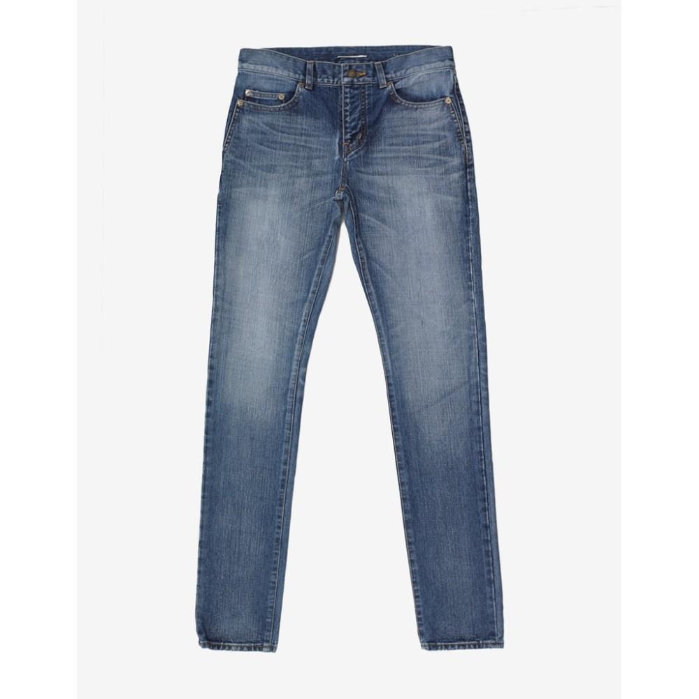 イヴ サンローラン Saint Laurent メンズ ボトムス・パンツ ジーンズ・デニム【Stonewash Logo Patch Skinny Denim Jeans】Blue