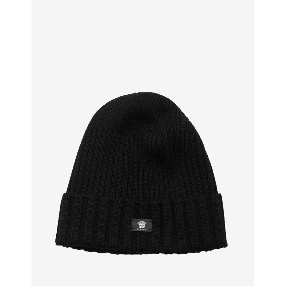 ヴェルサーチ Versace メンズ 帽子 ニット【Ribbed Wool Beanie Hat】Black
