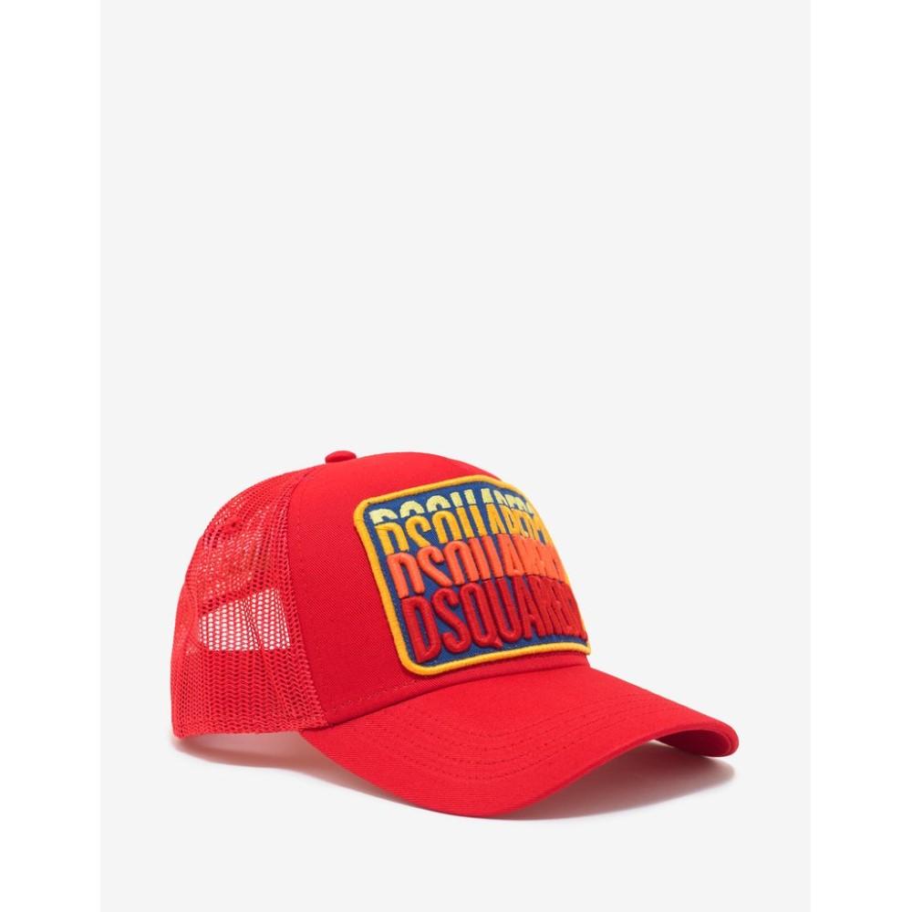 ディースクエアード Dsquared2 メンズ 帽子 キャップ【Multi-Logo Trucker Hat】Red