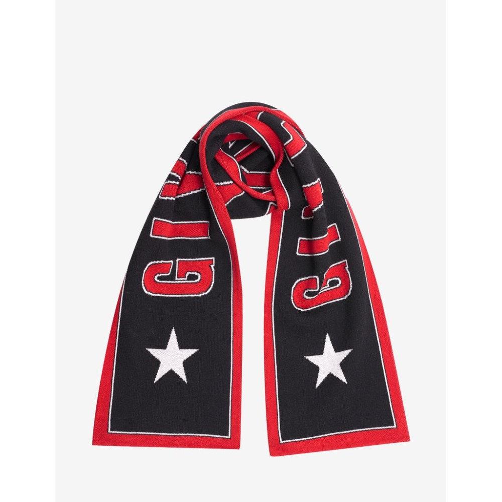 ジバンシー Givenchy メンズ マフラー・スカーフ・ストール【& Red Logo & Stars Scarf】Black