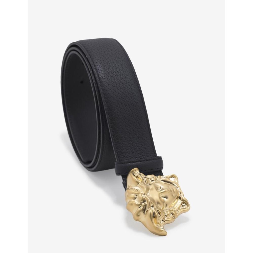 ヴェルサーチ Versace メンズ ベルト【Grain Leather Medusa Buckle Belt】Black