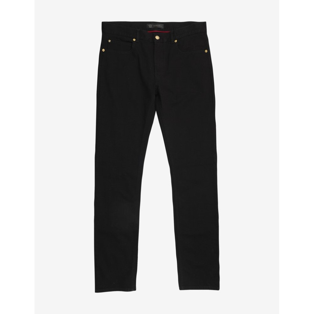 ヴェルサーチ Versace メンズ ボトムス・パンツ ジーンズ・デニム【Crest Embroidery Slim Jeans】Black