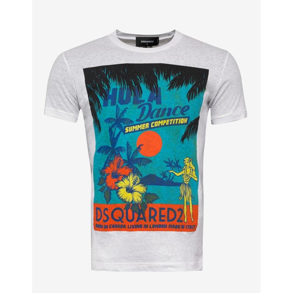 ディースクエアード Dsquared2 メンズ トップス Tシャツ【Hula Dance Print T-Shirt】White
