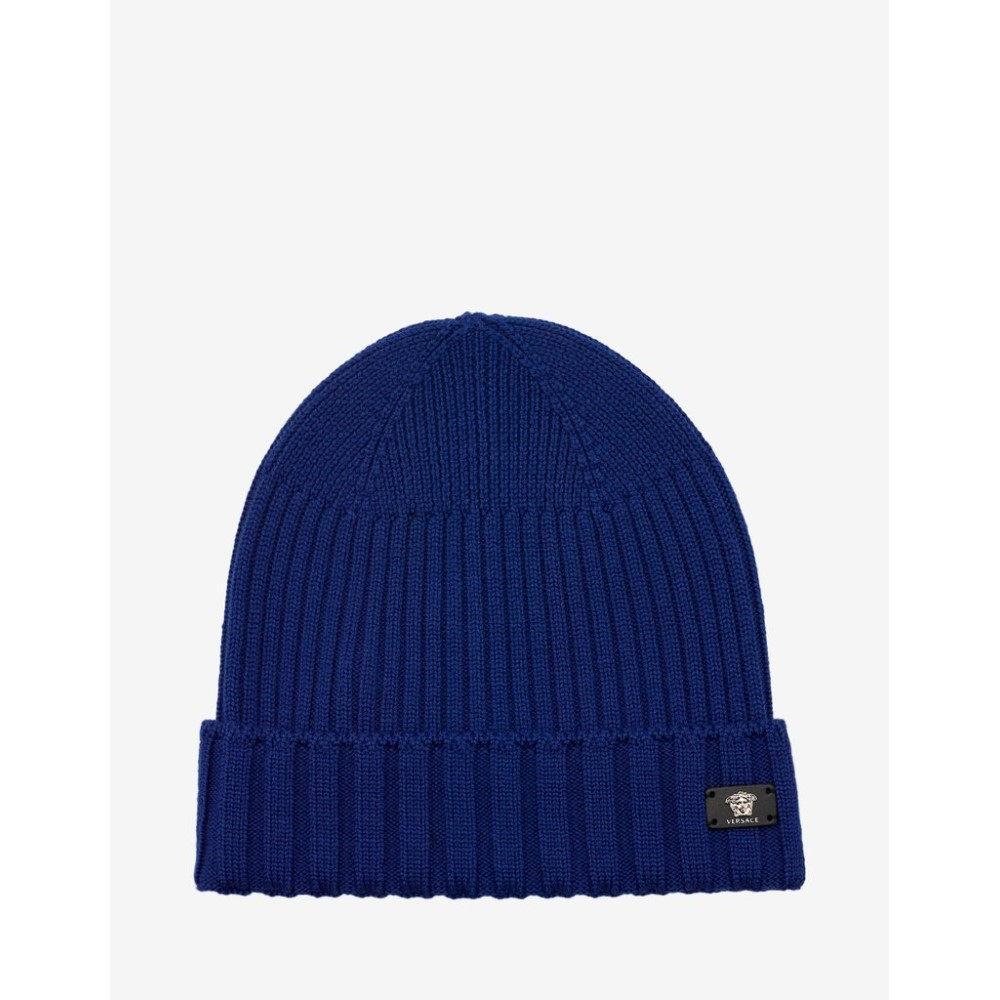 ヴェルサーチ Versace メンズ 帽子 ニット【Blue Ribbed Wool Beanie Hat】Black