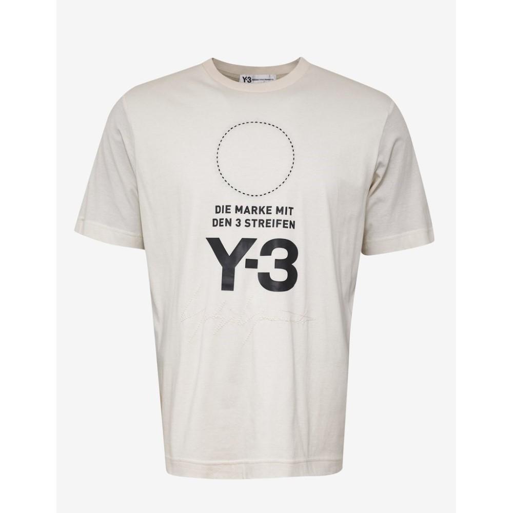 ワイスリー Y-3 メンズ トップス Tシャツ【Cream Logo Print Oversized T-Shirt】White