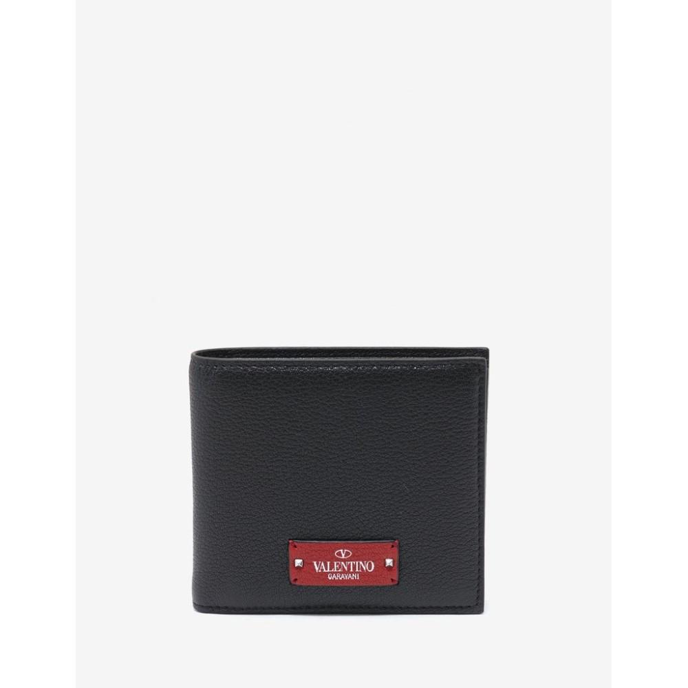 ヴァレンティノ Valentino Garavani メンズ 財布【Grain Leather Billfold Wallet】Black