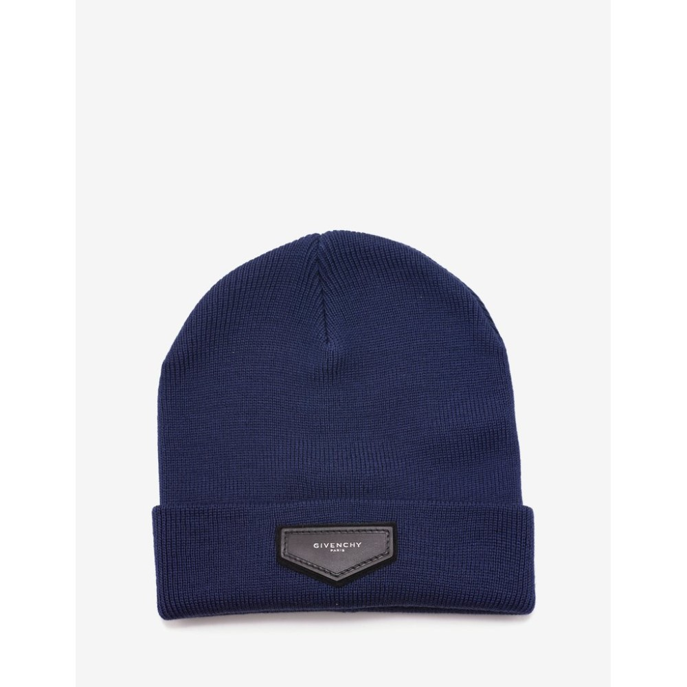 ジバンシー Givenchy メンズ 帽子 ニット【Navy Logo Badge Beanie Hat】Blue