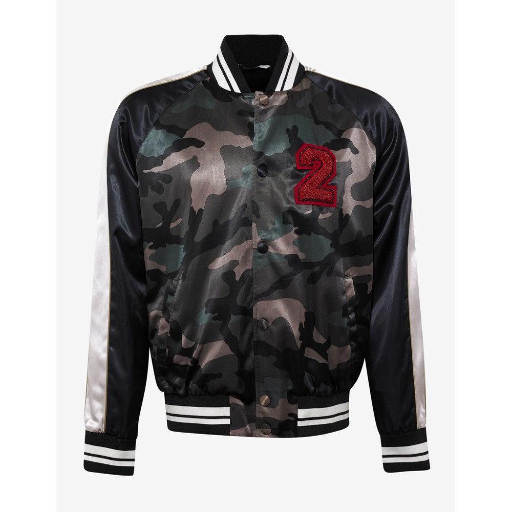 ヴァレンティノ Valentino メンズ アウター ジャケット【Beaded Logo Camouflage Souvenir Jacket】Green