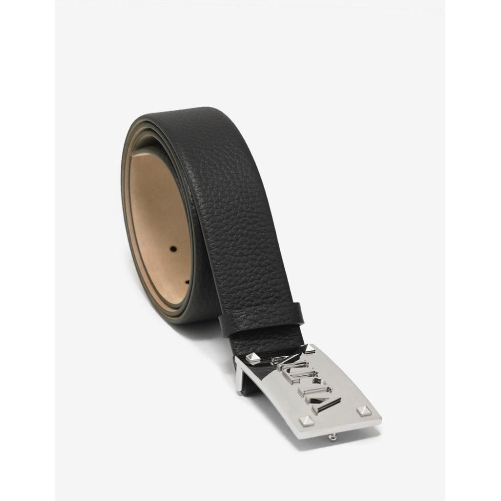 ヴァレンティノ Valentino Garavani メンズ ベルト【Leather VLTN Buckle Belt】Black