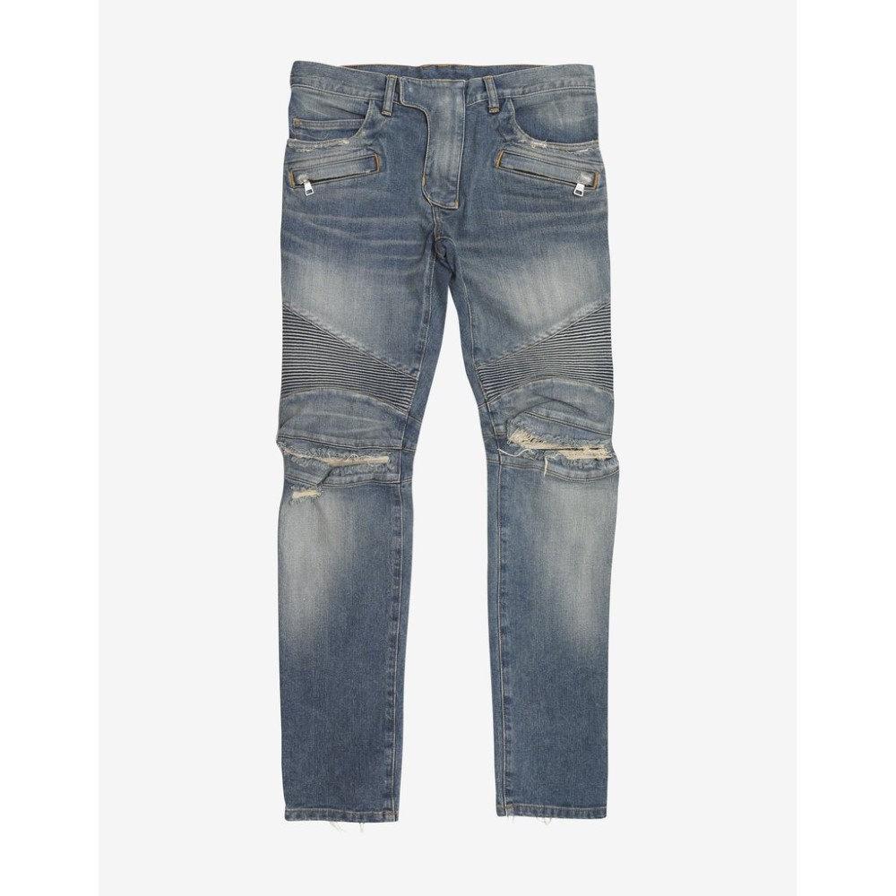 バルマン Balmain メンズ ボトムス・パンツ ジーンズ・デニム【Stonewash Skinny Biker Ripped Knee Jeans】Blue