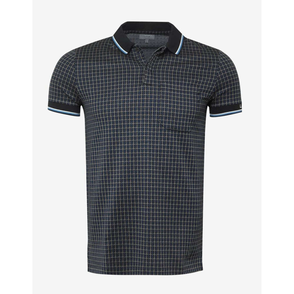 ランバン Lanvin メンズ トップス ポロシャツ【Black & Checked Jacquard Polo T-Shirt】Blue