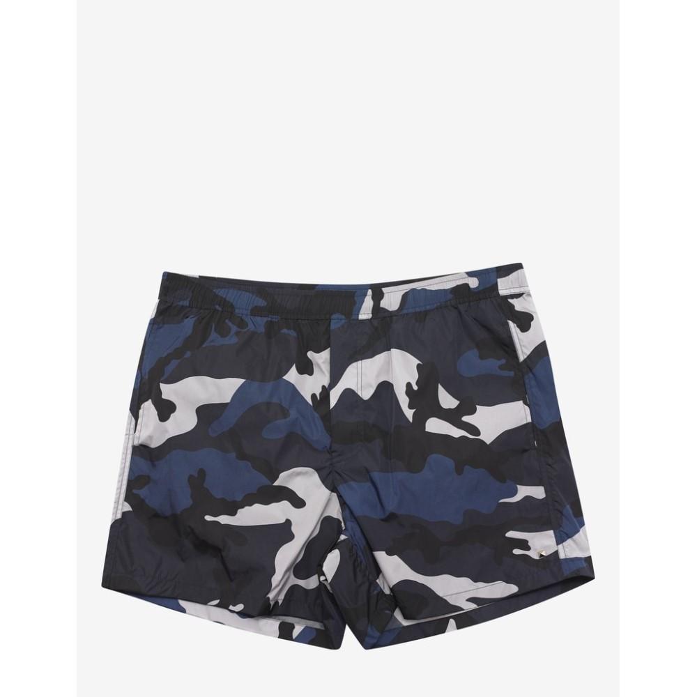 ヴァレンティノ Valentino メンズ 水着・ビーチウェア 海パン【& Silver Camouflage Print Swim Shorts】Blue