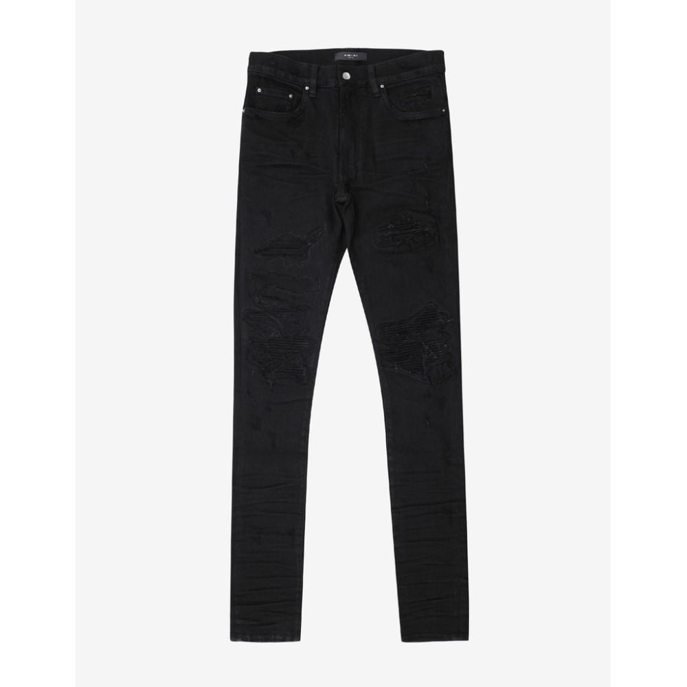 アミリ Amiri メンズ ボトムス・パンツ ジーンズ・デニム【MX1 Patch Distressed Skinny Jeans】Black