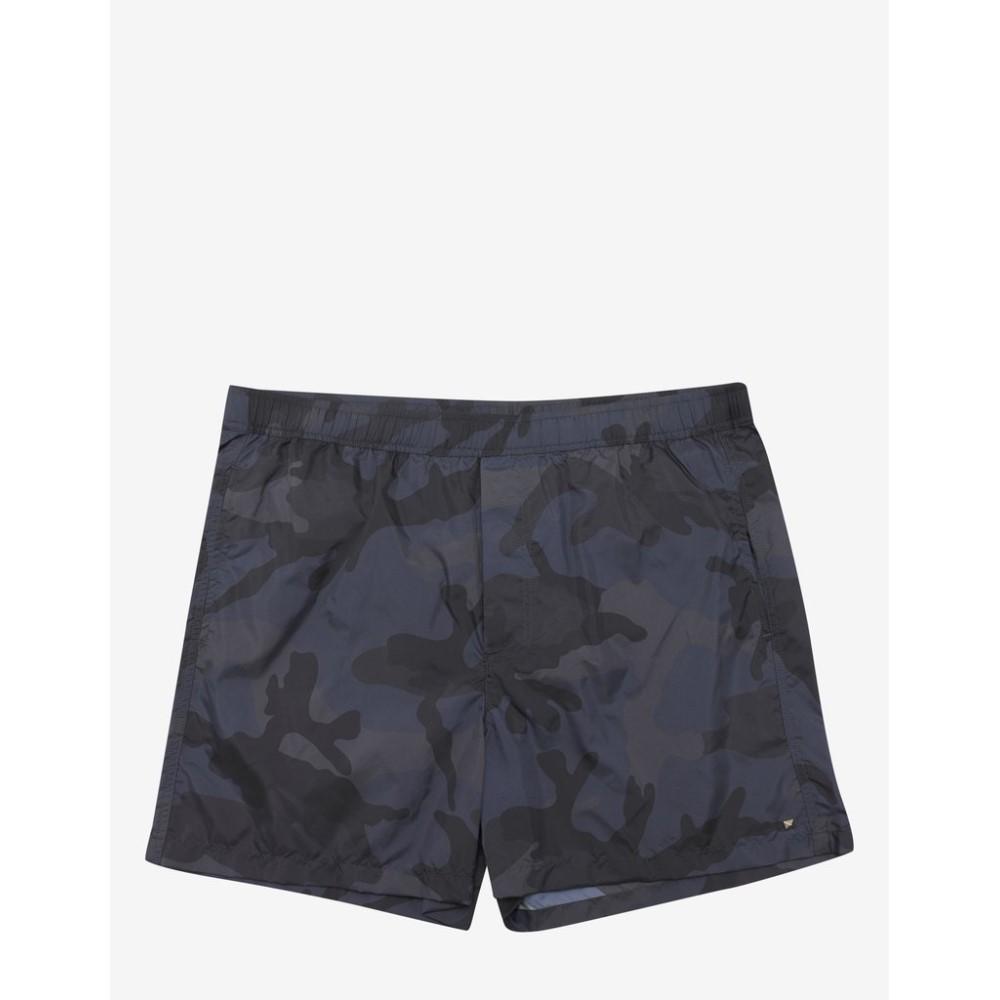 ヴァレンティノ Valentino メンズ 水着・ビーチウェア 海パン【& Grey Camouflage Print Swim Shorts】Blue
