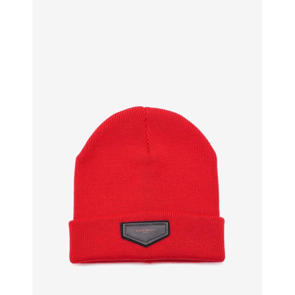 ジバンシー Givenchy メンズ 帽子 ニット【Logo Badge Beanie Hat】Red