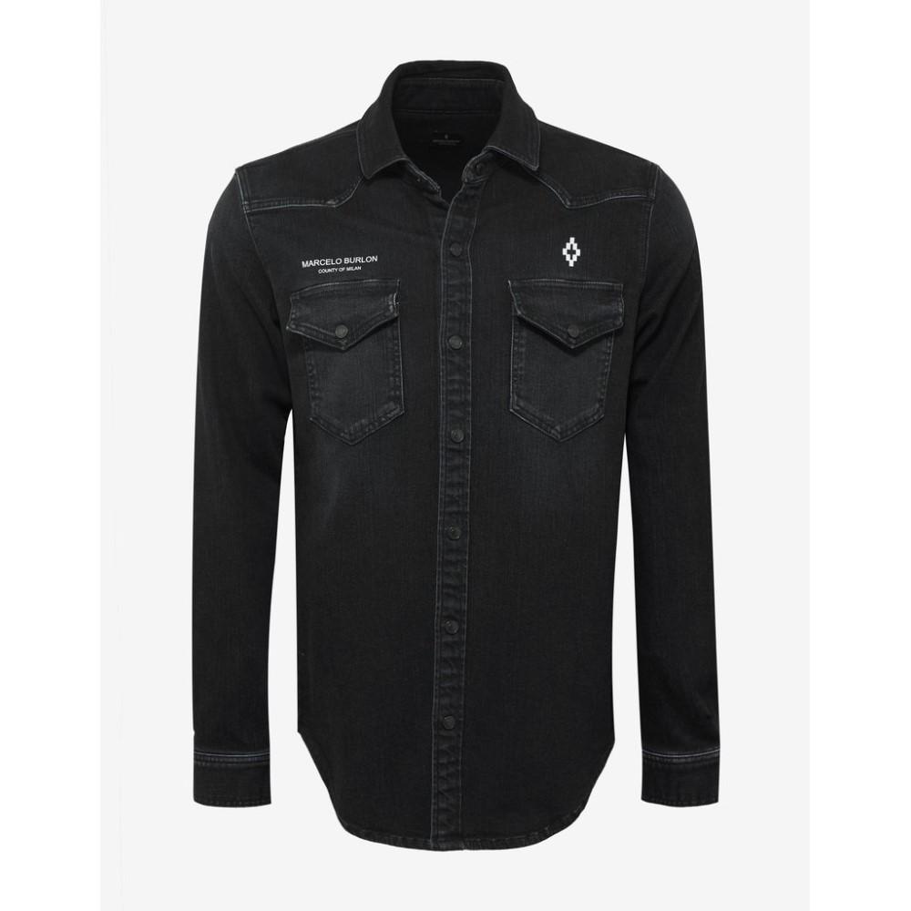 マルセロバーロン Marcelo Burlon メンズ トップス シャツ【Stone Wash Denim Logo Shirt】Black