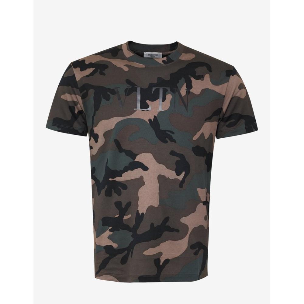 ヴァレンティノ Valentino メンズ トップス Tシャツ【VLTN Print Camouflage T-Shirt】Green
