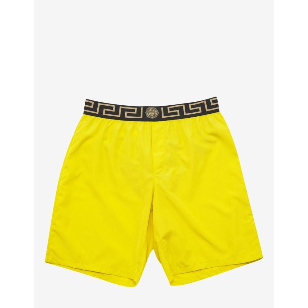 ヴェルサーチ Versace Gym メンズ 水着・ビーチウェア 海パン【Greek Pattern Long Swim Shorts】Yellow
