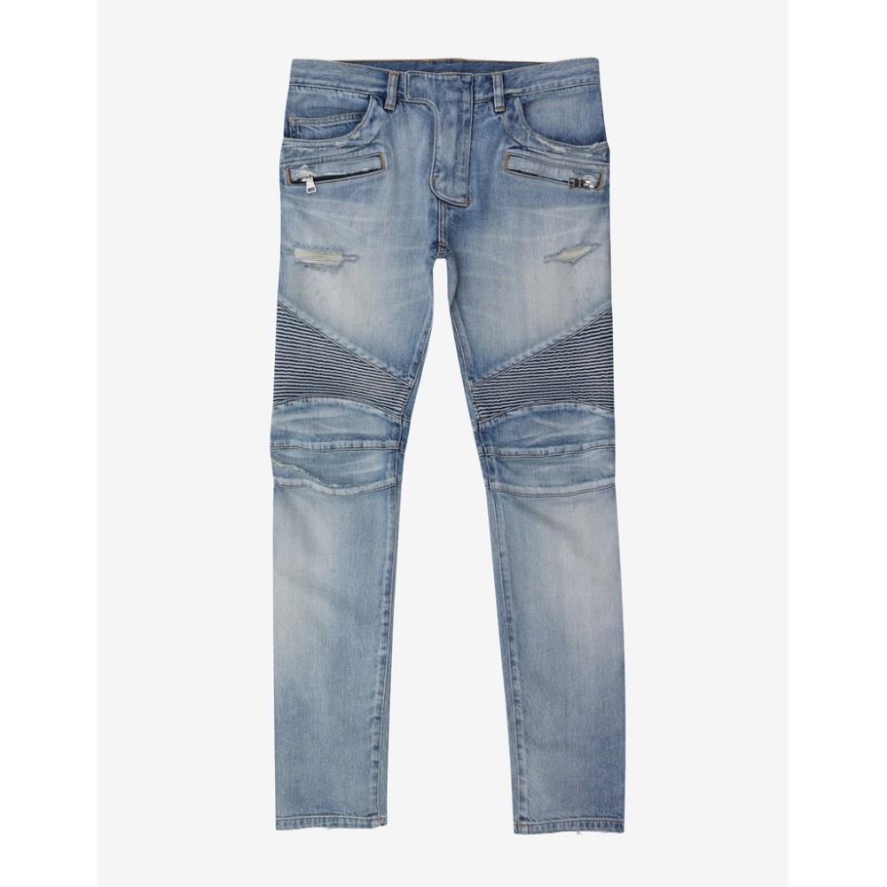 バルマン Balmain メンズ ボトムス・パンツ ジーンズ・デニム【Stonewash Repaired Blow Out Knee Biker Jeans】Blue