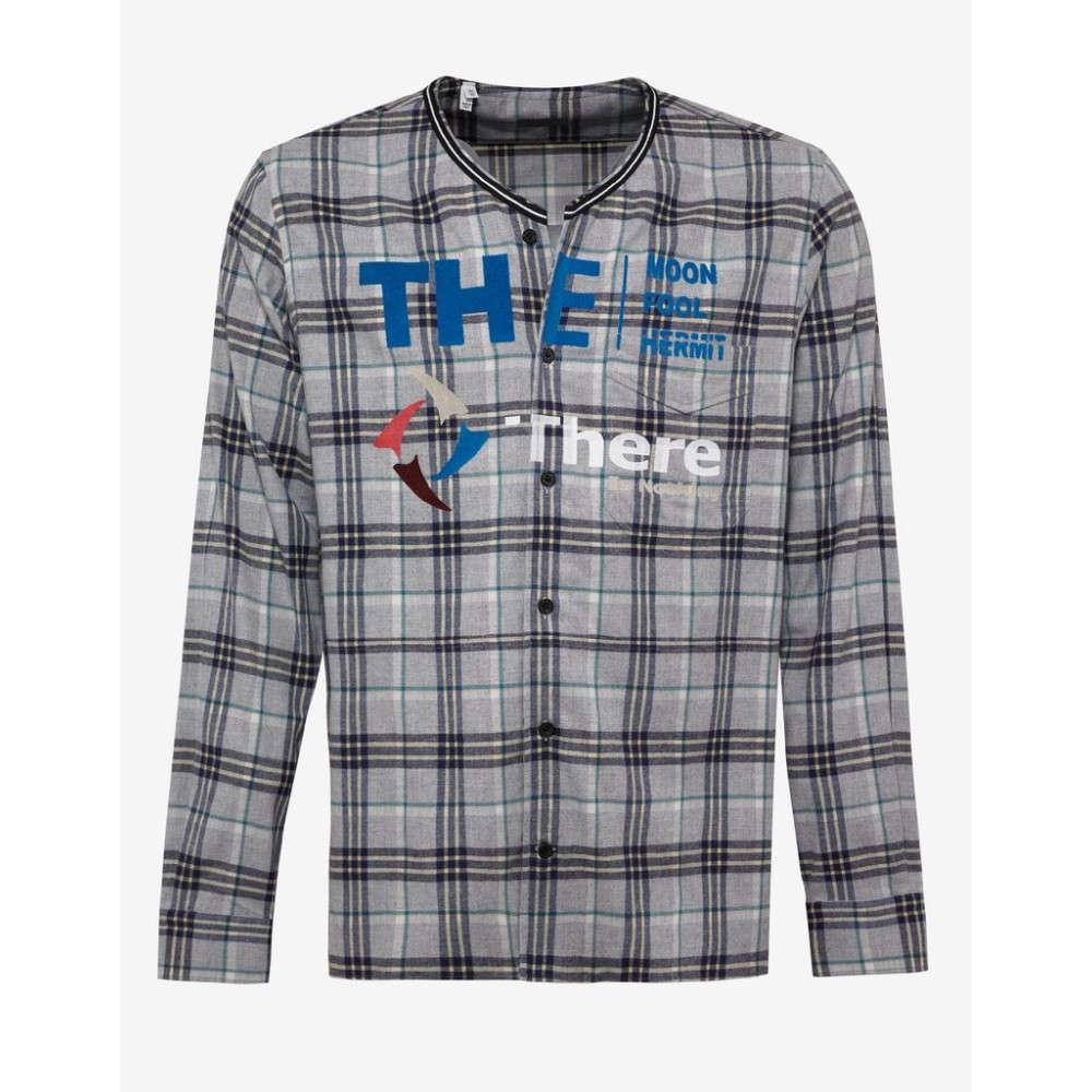 ランバン Lanvin メンズ トップス シャツ【Check 'There is Nothing' Print Shirt】Grey