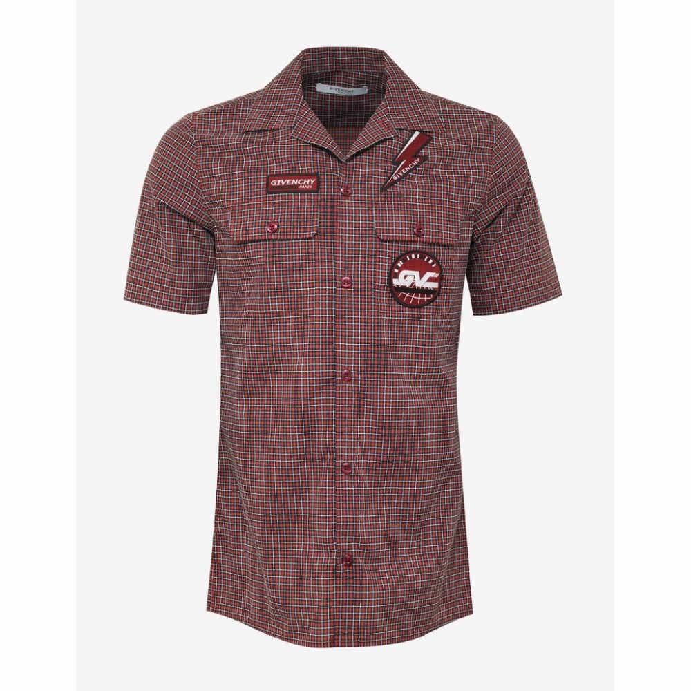 ジバンシー Givenchy メンズ トップス 半袖シャツ【Check Short Sleeve Shirt with Badges】Red
