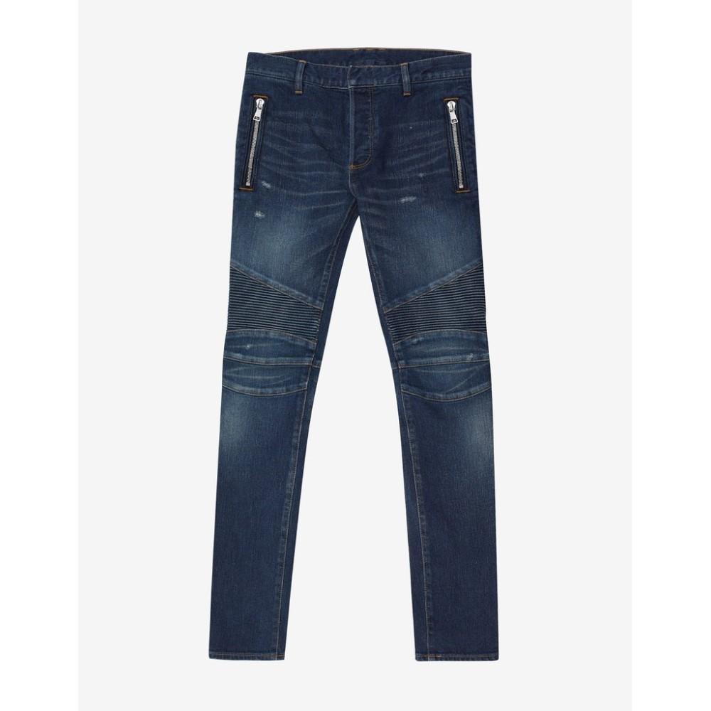 バルマン Balmain メンズ ボトムス・パンツ ジーンズ・デニム【Distressed Skinny Biker Jeans】Blue