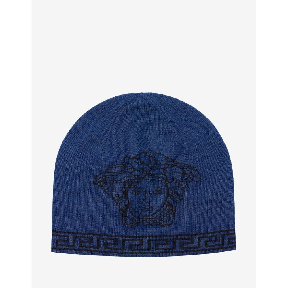 ヴェルサーチ Versace メンズ 帽子 ニット【Wool Blend Medusa Beanie Hat】Blue