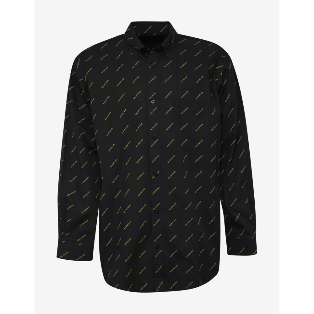 バレンシアガ Balenciaga メンズ トップス シャツ【Shirt with Yellow Logo Print】Black