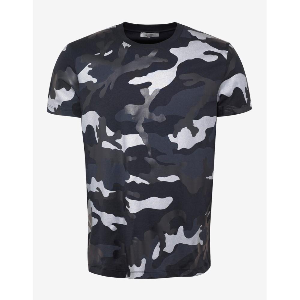 ヴァレンティノ Valentino メンズ トップス Tシャツ【Navy & Gunmetal Camouflage Print T-Shirt】Blue