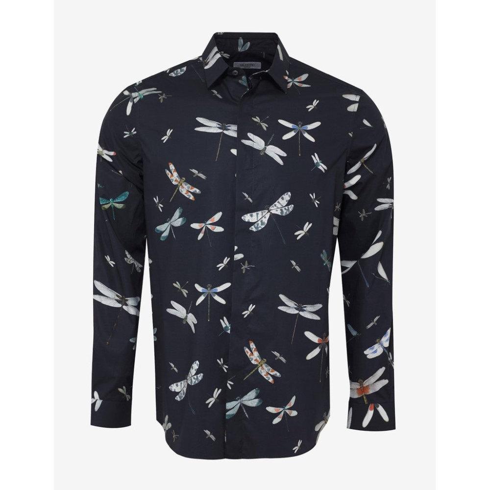 ヴァレンティノ Valentino メンズ トップス シャツ【Navy Dragonfly Print Shirt】Blue